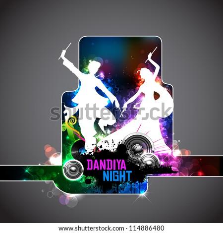illustration of people dancing on disc in dandiya night - stock vector