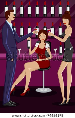 illustration of people enjoying drink in party