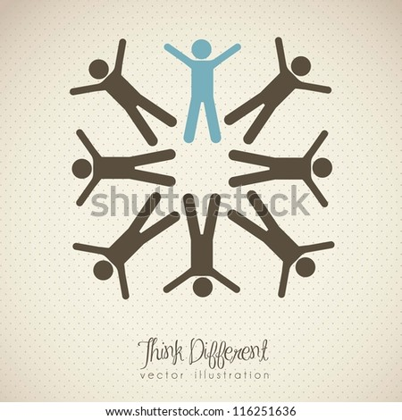 illustration of people icons, teamwork and think different, vector illustration