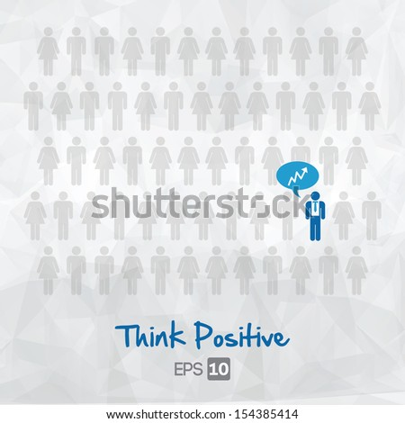 illustration of people icons, think positive, vector illustration design - stock vector