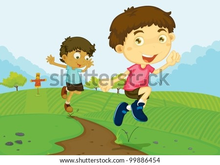 Illustration of people in the park - stock vector