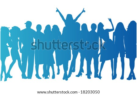 Illustration of people on a concert - stock vector