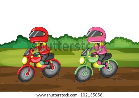 Illustration of people racing dirtbikes - stock vector