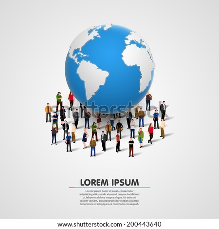 illustration of people under planet earth. vector illustration - stock vector