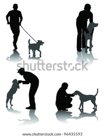 Illustration of people with dog and shadow 2-vector - stock vector