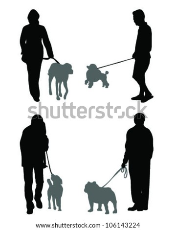 Illustration of people with dog-vector - stock vector