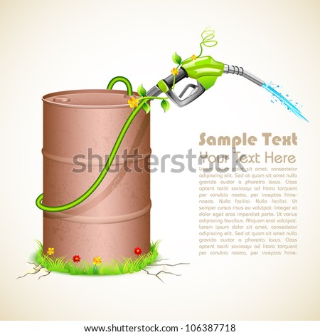 illustration of petrol nozzle wrapped with creeper with metal barrel showing green fuel - stock vector