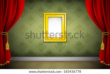 illustration of photo frame on wallpaper with curtain interior - stock vector