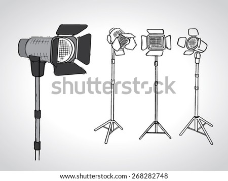 illustration of photo studio reflectors on stand with a black outline isolated on white - stock vector