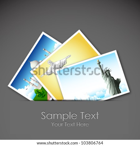 illustration of photograph of different travel place - stock vector