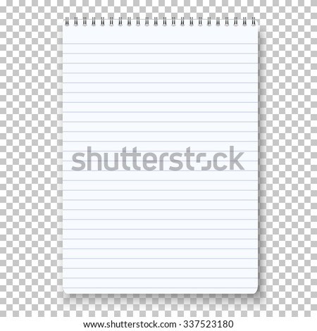 Illustration of Photorealistic Vector Notepad Isolated on Transparent Background. Clean Vector Notepad on Spiral Spring - stock vector