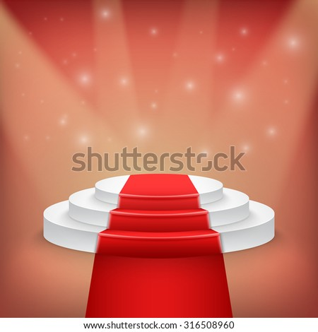 Illustration of Photorealistic Winner Podium Stage with Stage Lights and Red Carpet Background. Used for Product Placement, Presentations, Contest Stage. - stock vector