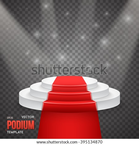 Illustration of Photorealistic Winner Podium Stage with Stage Lights and Red Carpet Isolated on Transparent PS Style Background - stock vector
