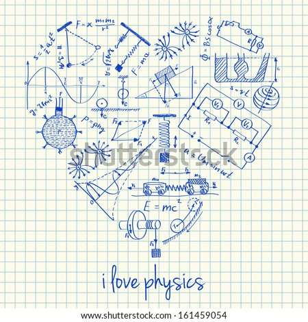 Illustration of physics doodles in heart shape - stock vector