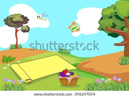 illustration of picnic - stock vector
