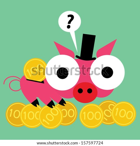 illustration of pig moneybox collecting the coins - stock vector