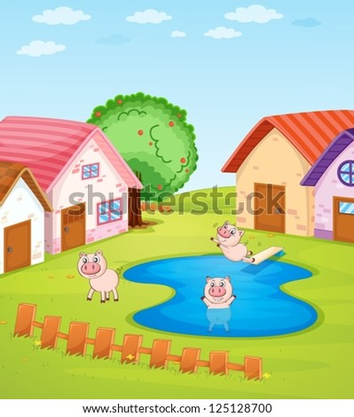 Illustration of pigs and houses
