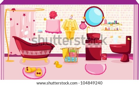illustration of pink bathroom - stock vector