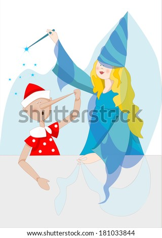 illustration of Pinocchio and the Blue Fairy - stock vector