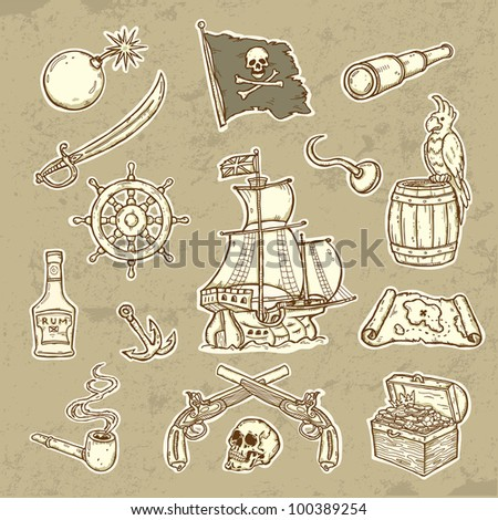 Illustration of pirates set - stock vector