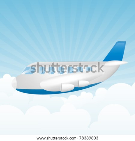 Illustration of plane in the sky - stock vector