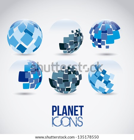 Illustration of planet earth icons and sphere, vector illustration - stock vector