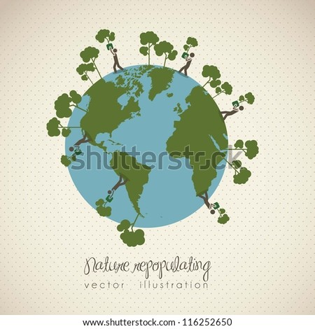 illustration of planet earth icons, repopulating, in dotted background, vector illustration