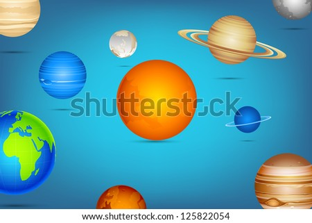 illustration of planet of solar system on abstract background - stock vector