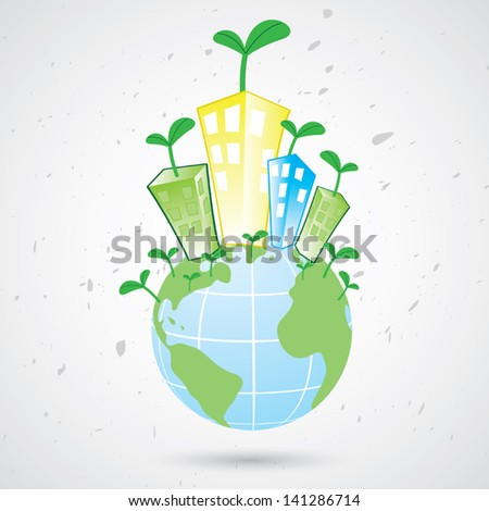 Illustration of plant growing on the earth.