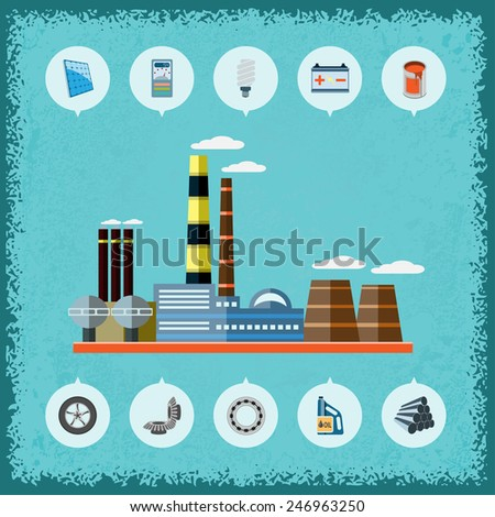 Illustration of plant with icons of industrial production. Vector. - stock vector