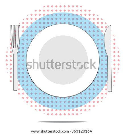 Illustration of plate with fork and knife with red spotted background - stock vector