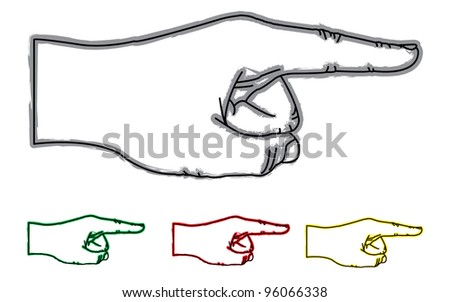 Illustration of pointing hand in four color. - stock vector