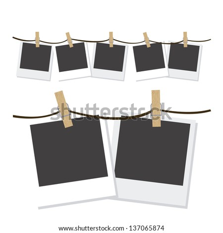 Illustration of polaroid photographs hung with wooden hangers, vector illustration - stock vector