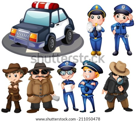 Illustration of police and detectives - stock vector