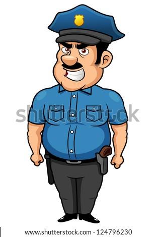 illustration of Policeman cartoon - stock vector