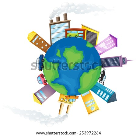Illustration of pollution around the earth - stock vector