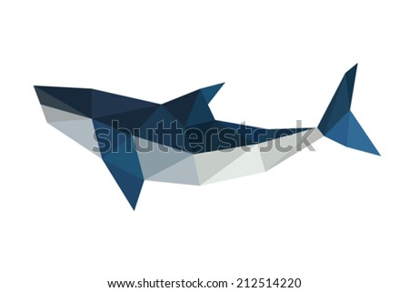 Illustration of polygonal, origami shark isolated on white background - stock vector