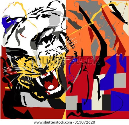Illustration of pop art background with tiger and woman face - stock vector