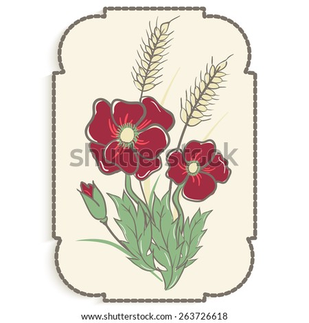 Illustration of poppies and ears in frame. Card design. Sketch. - stock vector