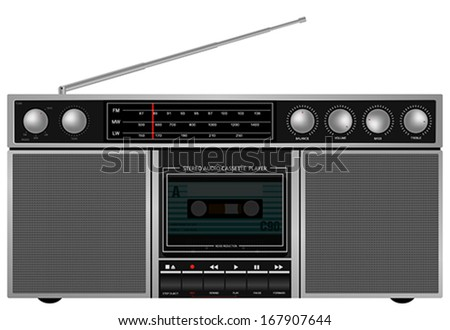 Illustration of Portable Retro Stereo Audio Cassette Player / Recorder - stock vector