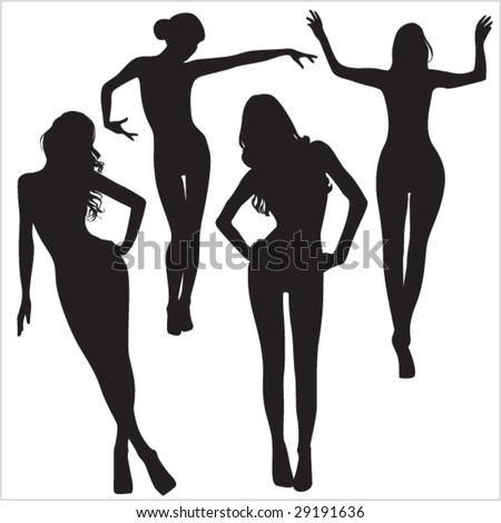 Illustration of posing sexy woman silhouettes - vector design element for decoration - stock vector
