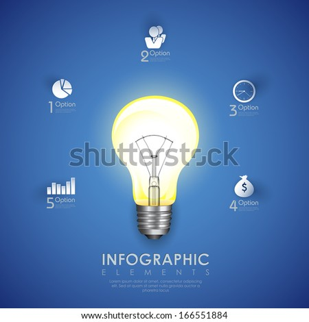 illustration of power bulb in Business Infographics Chart - stock vector