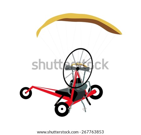 Illustration of Powered Paraglider or Electric Paramotor Made of Motor, Propeller, Harness and Cage Isolated on White Background.