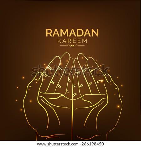 illustration of praying hand on shiny golden background - stock vector