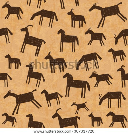Illustration of prehistoric cave art paintings seamless pattern - stock vector