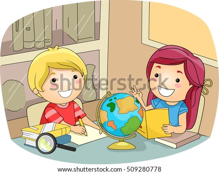 Illustration of Preschool Kids Consulting a Globe to Learn More About Geography