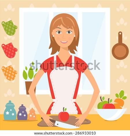 Illustration of pretty woman on kitchen.Vector - stock vector