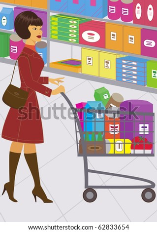 illustration of pretty woman, who is shopping - stock vector