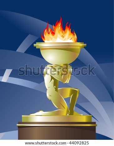 Illustration of Prometheus carrying fire - stock vector