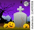 illustration of pumpkin around tomb stone in Halloween night - stock photo